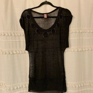 Free People Sheer black top